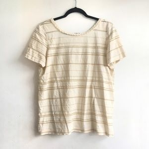 SEZANE Striped T-Shirt White Gold Metallic Tee